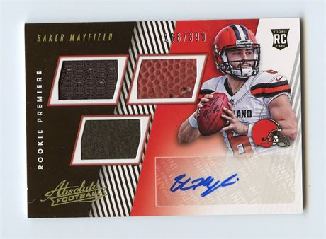 BAKER MAYFIELD AUTOGRAPH ROOKIE WITH BALL & JERSEY RELIC 2018 ABSOLUTE 266/399