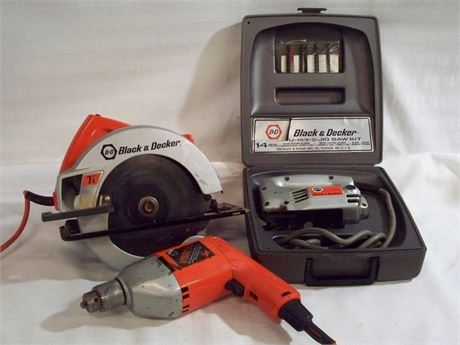 3 PIECE BLACK AND DECKER TOOL LOT