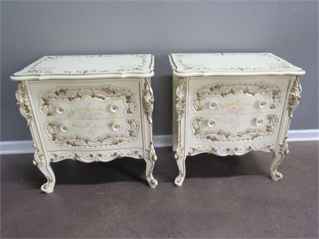 P Pikkel Interiors Inc French Provincial Nightstands Hand-Painted W. Baeckelandt