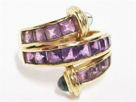 SIZE 9 14K GOLD RING WITH AMETHYST AND TOPAZ