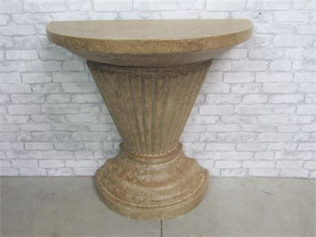 Large Faux Stone-like Pedestal Demilune
