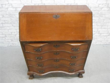 VINTAGE SERPENTINE FRONT SECRETARY DESK WITH BALL AND CLAW FEET