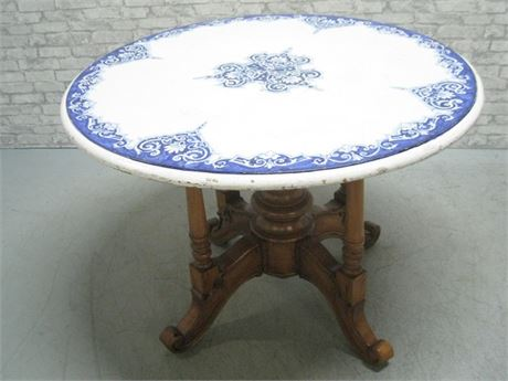 COBALT BLUE AND WHITE CEMENT TOP TABLE WITH NICE ORNATE WOOD BASE