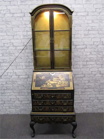 CHINESE SECRETARY WITH LIGHTED HUTCH