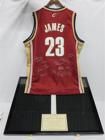 2004 Cleveland Cavaliers Lebron James & Team Signed Jersey with COA & Frame