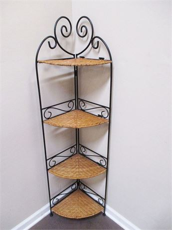 WICKER AND WROUGHT IRON FOLDING CORNER ETAGERE