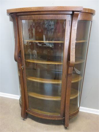 Vintage Bow Front Curio Cabinet
