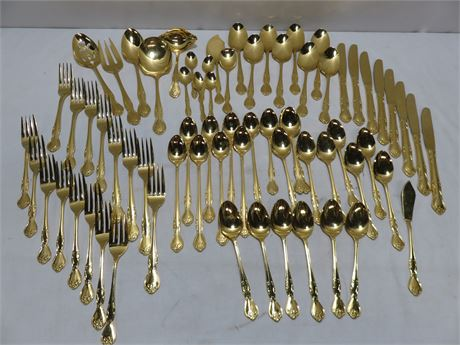 68-Piece Gold Plated Stainless Flatware Set