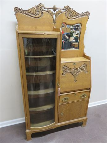 Antique Oak Secretary Desk Curio