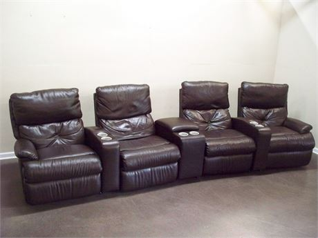 FLEXSTEEL/WAYSIDE 7 PIECE LEATHER THEATER SEATING