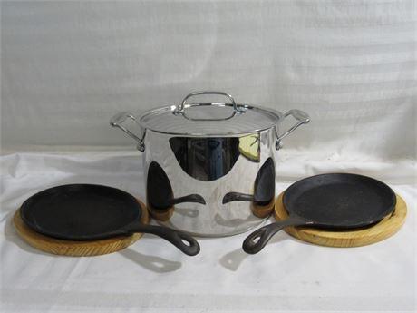 Cuisinart 8qt. Stainless Steel Stock Pot and 2 Cast Iron Steak Skillet/Platters