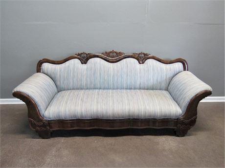 Antique Camel Back Wood Trimmed Sofa Beautiful Burl Veneer & Carved Wood Details