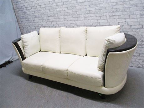 IVORY LEATHER SOFA WITH WOOD ACCENT