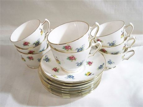 8 FLORAL BOUQUET CROWN STAFFORDSHIRE CUPS AND SAUCERS