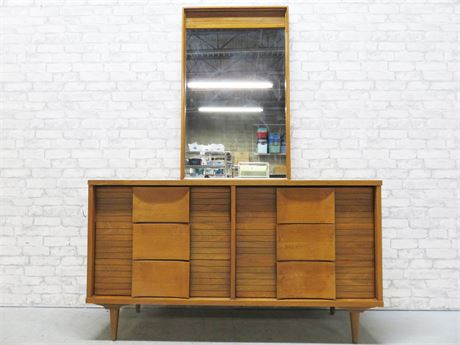 JOHNSON CARPER Mid-Century Low Dresser & Mirror