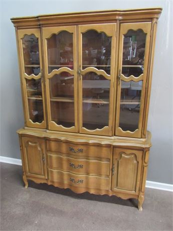 Vintage 2 Piece French Provincial Serpentine Front China Hutch