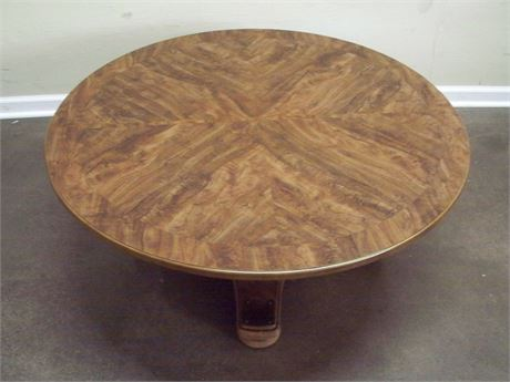 LARGE ROUND PEDESTAL COFFEE TABLE WITH WOODGRAIN LAMINATE TOP