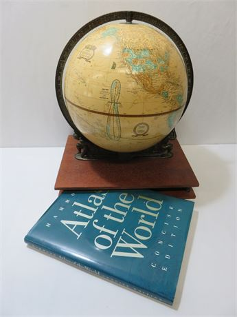 CRAM'S Imperial World Globe with Atlas Stand & Book