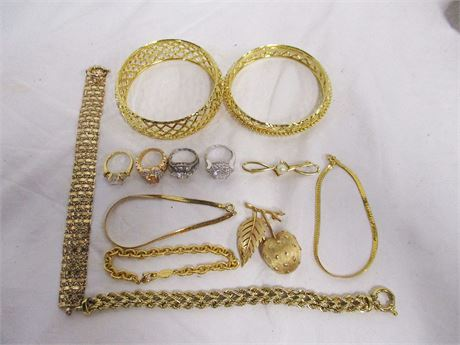 LOT OF COSTUME JEWELRY - SOME MARKED STERLING