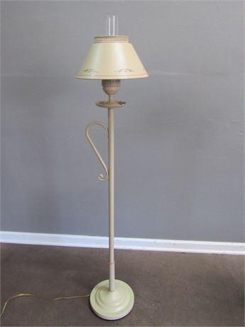 Vintage Tan Toleware Floor Lamp