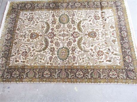 "EXCELLENT KALATY 100% WOOL HAND KNOTTED INDIAN THROW RUG (6'10"" X 4'10"")"