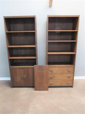 2 Vintage Horner Mid Century Danish Modern Bookcases - African Walnut