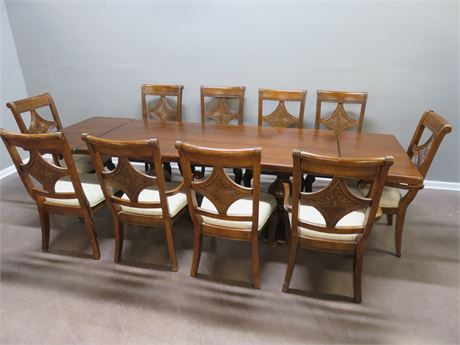 Cherry Trestle Style Long Dining Table Set