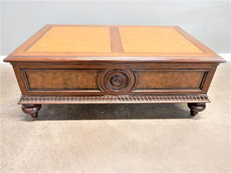 Leather Top Wood Coffee Table/Pullout Storage