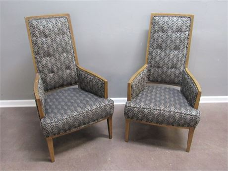 2 Mid Century High-back Upholstered Chairs