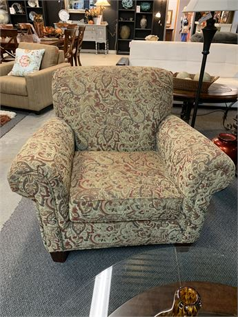 Burgundy/Gold Paisley Upholstered Chair