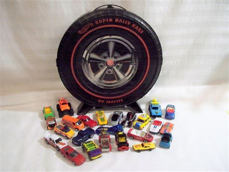 VINTAGE HOT WHEELS SUPER RALLY CASE WITH MISC. CARS