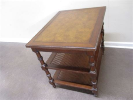 VINTAGE SIDE TABLE WITH CANED SHELVES