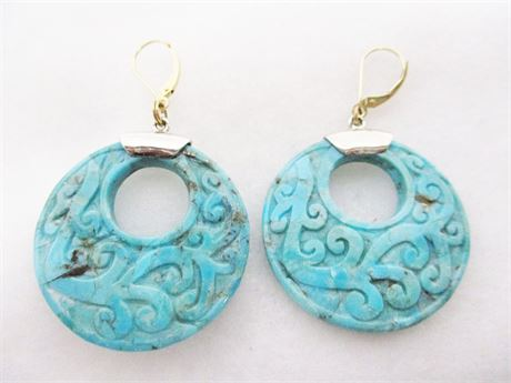 CARVED TURQUOISE AND STERLING SILVER EARRINGS