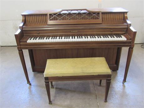 W. W. Kimball Co. Upright Consolette Piano with Bench