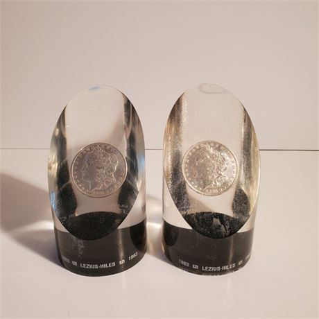 Silver Dollar Paperweights Lezius Hiles Co.