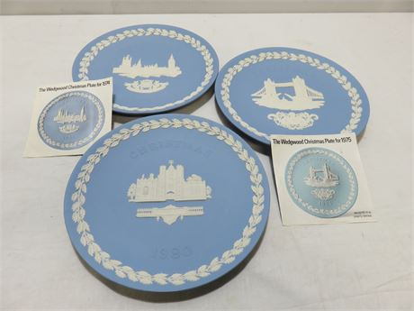 3-Piece WEDGWOOD Christmas Collector Plate Lot