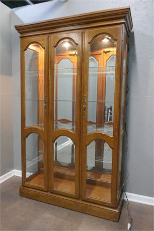 Lighted Curio Cabinet with Glass doors and mirror back