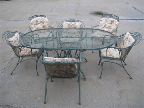 LYON-SHAW WINDFLOWER WROUGHT IRON PATIO TABLE AND 6 CHAIRS WITH CUSHIONS