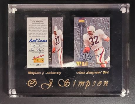 OJ SIMPSON SIGNED CARD DURING HIS TIME IN JAIL