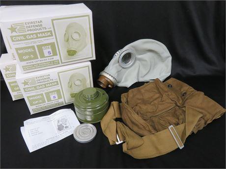 Lot of 4 EVIRSTAR GP-5 Civil Gas Mask Kits - SIZE S