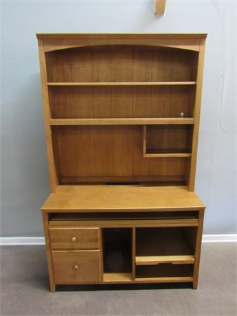 Ethan Allen Desk with Hutch and Pull-out Desktop