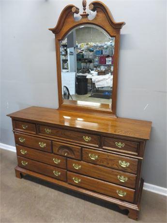 LEXINGTON Oak Triple Dresser & Mirror