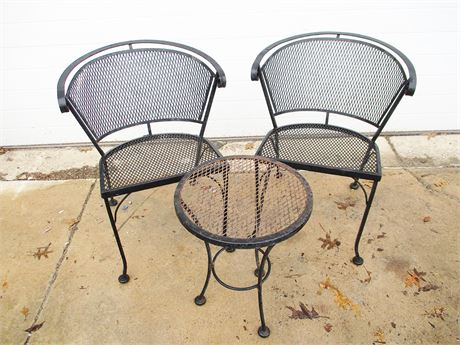 LOT OF 2 WROUGHT IRON CHAIRS AND TABLE