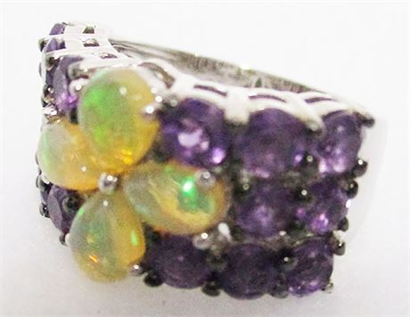 STERLING SILVER OPAL AND AMETHYST RING - SIZE 6.5