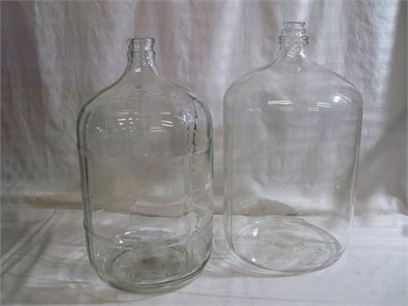 2 VINTAGE 5 GALLON GLASS JUGS
