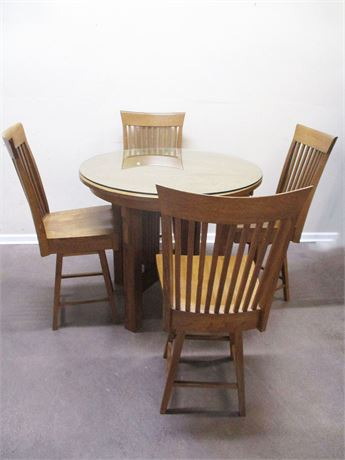 BEAUTIFUL OAK PUB TABLE AND 4 SWIVEL STOOLS