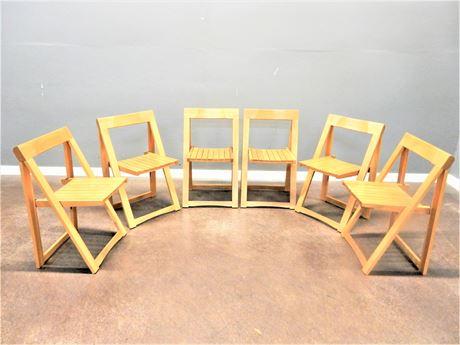 Six Wood Folding Chairs