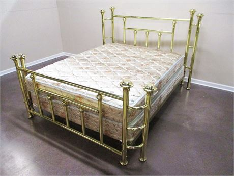QUEEN BRASS BED WITH SERTA MATTRESS
