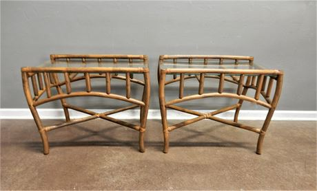 Rattan Style Wood and Glass Side Table Set