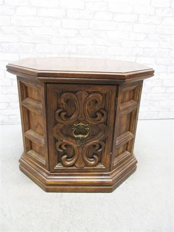 OCTAGONAL SIDE TABLE WITH STORAGE